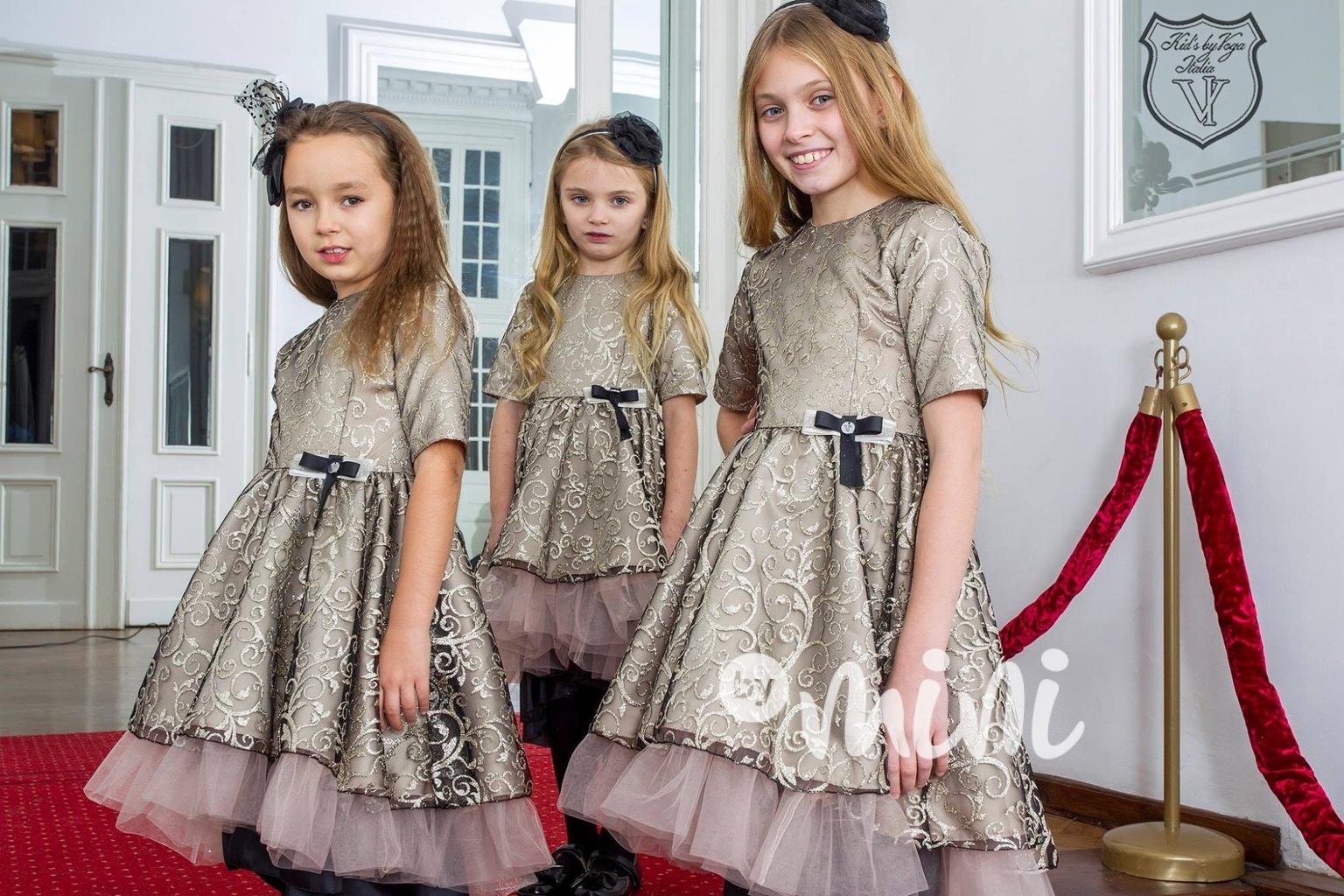 8321fa91cff Luxusní zlaté dívčí šaty Princess - Skladem