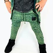 Acid wash biker pants green