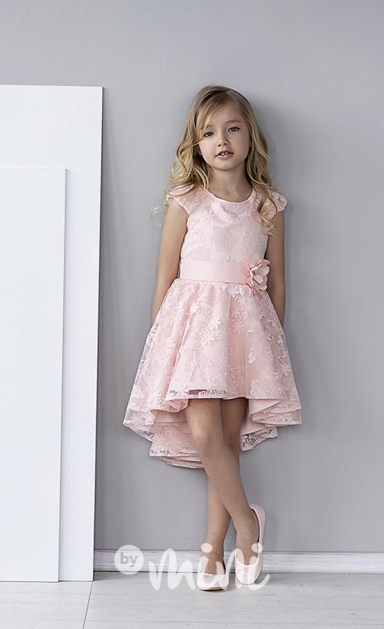 607cae2f1137 Luxury lososové šaty s krajkou a kytičkou - Skladem